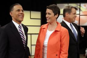 Lt. Gov. Anthony Brown with State House Del. Heather Mizeur at the third and final televised gubernatorial debate ahead of the June 24 primary.