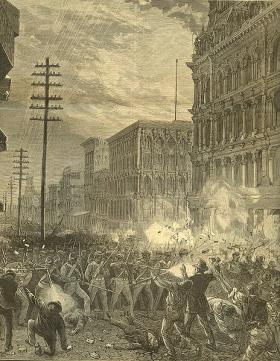 """Sixth Regiment Fighting its way through Baltimore"", an engraving done for ""Harper's Weekly, Journal of Civilization"", August 1877"