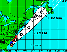 Projected track for Hurricane Arthur
