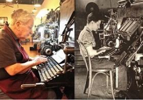 Ray Loomis at his linotype machine (age 84 at left, age 16 at right)