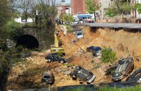 Taken soon after the April street collapse, when vehicles and portions of road fell into a CSX rail line that runs along 26th Street in Baltimore.