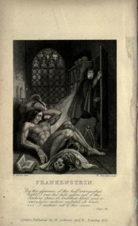 The inside cover of Mary Shelley's Frankenstein. Courtesy of Neil Fraistat.