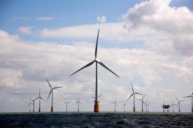 Thanet wind farm off the coast of England.