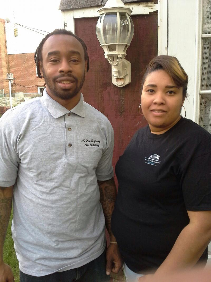 Tavon Williams, 31, with his wife. Williams, a former alcoholic, got locked up for the first time when he was 19.