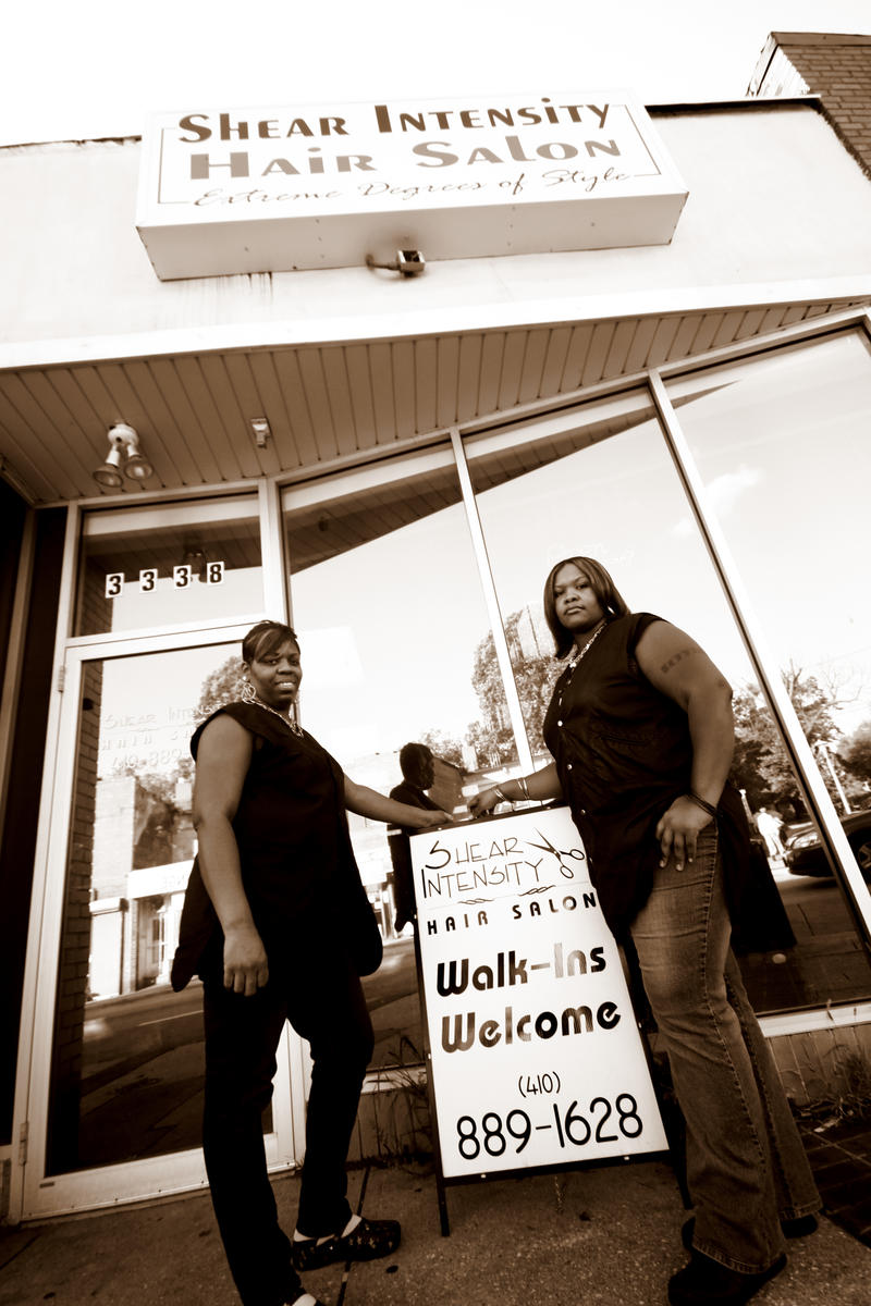 LaShawn Glasgow and Tiffany Thomas at Shear Intensity Hair Salon, 3338 Greemount Ave