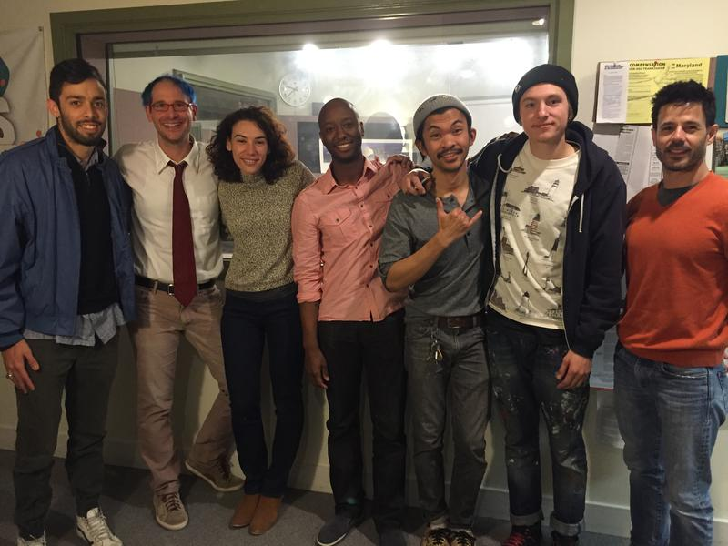 The MICA Up/Starters at WYPR: Sam Reitenbach, Maryland Morning co-host Nathan Sterner, Julie Buisson,Jay Jackson, Renz Balagtas, Juansebastian Serrano, Mark Verdecia