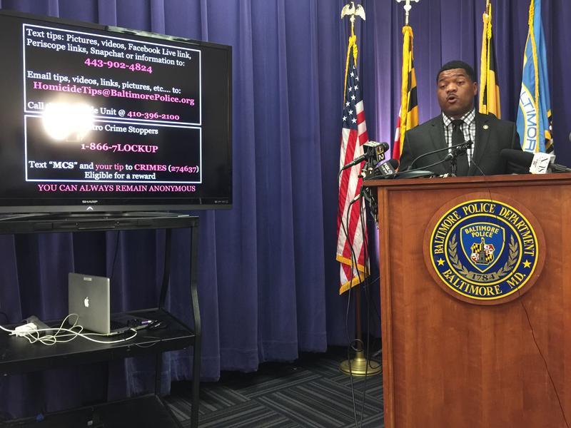 Baltimore Police spokesman T.J. Smith announces two new ways to pass along digital information to homicide detectives