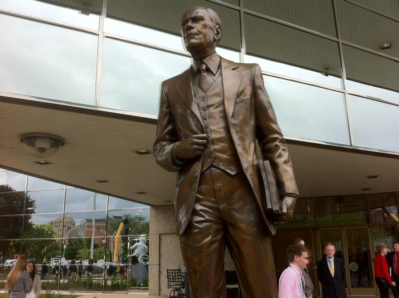 The statue of former President Gerald R. Ford at the entrance to his museum.