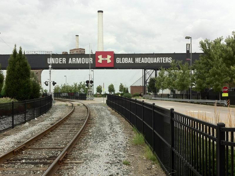 Train tracks lead into the Under Armour headquarters in Locust Point