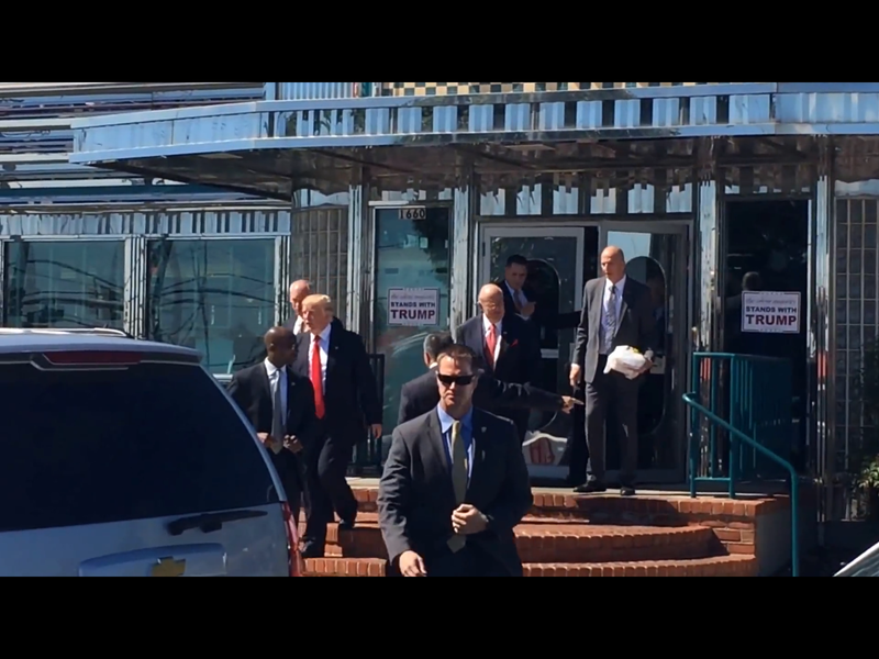 Donald Trump leaves the Boulevard Diner in Dundalk.