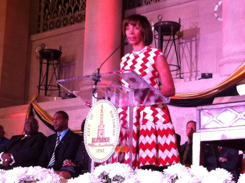 Mayor Catherine Pugh delivering her inaugural address shortly after being sworn into office Tuesday.