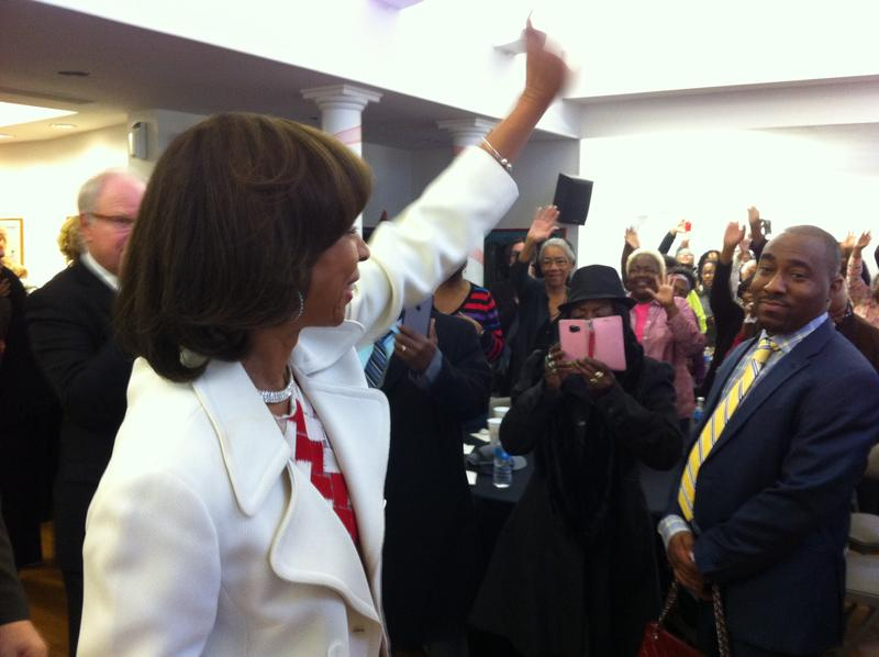 Mayor Catherine Pugh receives a standing ovation Tuesday from those attending one of four community celebrations in South Baltimore after her inauguration as the city's 50th mayor.