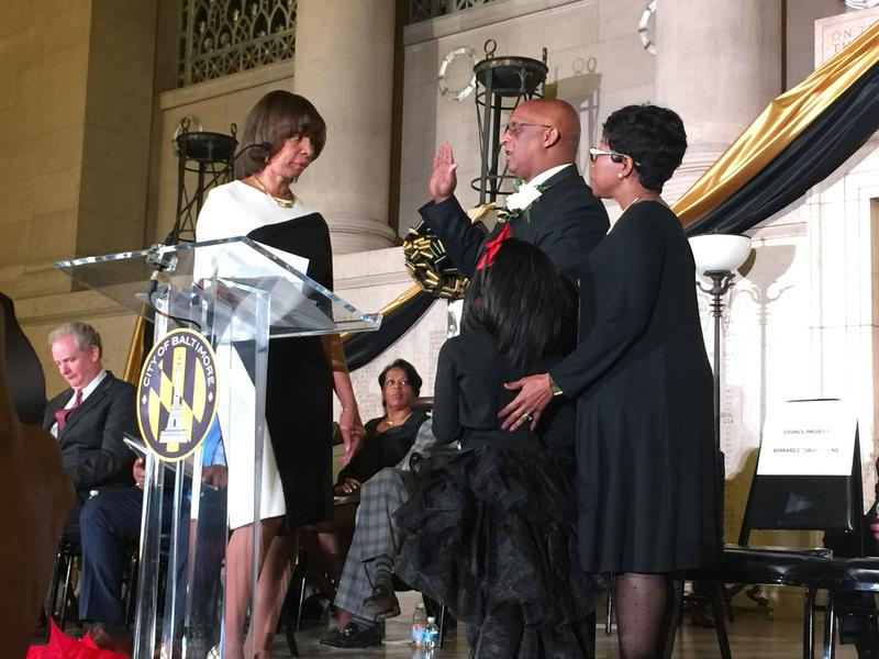 Mayor Catherine Pugh administering the oath of office to City Council President Jack Young.  Young has been council president since 2010.