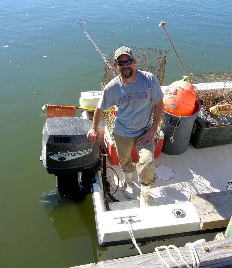 Waterman Daniel Knott says putting a biodegradable escape hatch on his crab pots is his way of doing at least a little bit.,