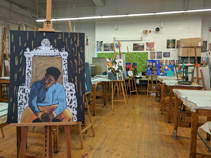 A view of students' final painting project