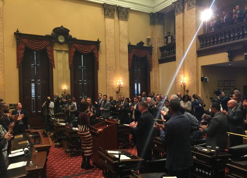 Baltimore Mayor Catherine Pugh receives a standing ovation after delivering Thursday her first State of the City address.