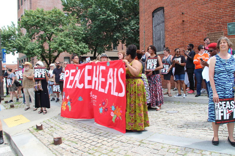Sunday's peace march gets underway at the Shot Tower
