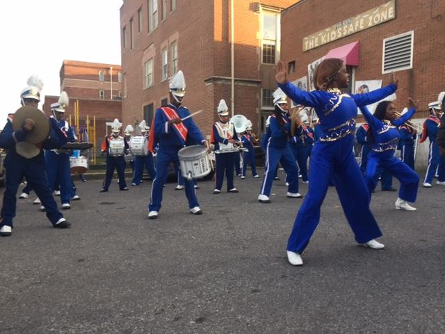 The Frederick Douglass High School band leads the way
