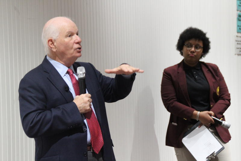 Senator Ben Cardin and SEED School's Student Body President Jermya Williams.