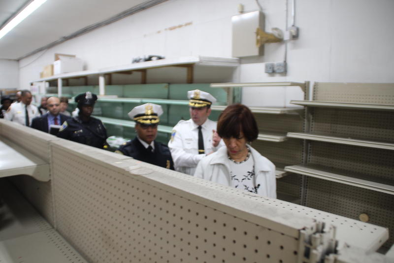 Pugh tours vacant shelves of Penn Supermarket. She has asked the health inspector to move the store's health inspection up.