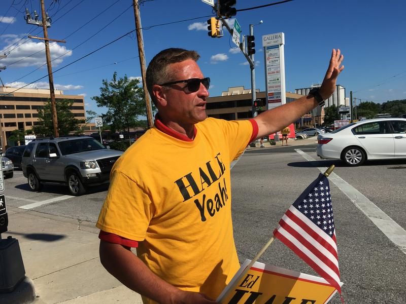 3rd District Council Candidate Ed Hale Jr. campaigning at the intersection of York Road and Seminary Avenue