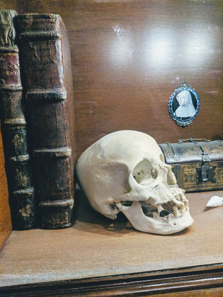 It was very common in the 1600's for Christians to keep a human skull on their desk to remind them of their own mortality