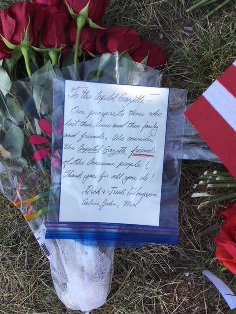 A couple from Cabin John express their condolences