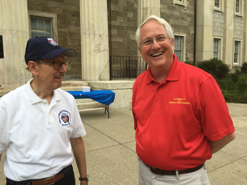 Republican County Executive Candidate Al Redmer (right) at National Night Out in Towson