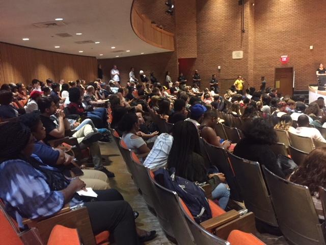 "Students crowd an auditorium at UMBC for what administrators calle a ""listening session"" on sexual assault issues"