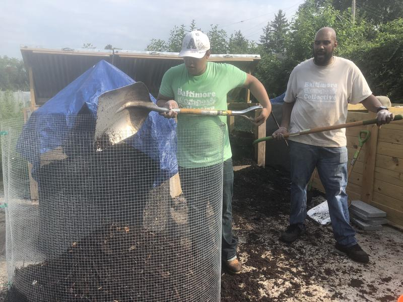 Anthony Walton [Left], 19, and Marvin Hayes [Left], shoveling the finished compost to be scattered throughout the garden.