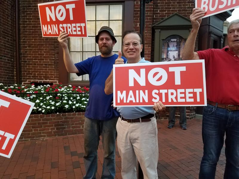 Former Delegate Ron George at the bike lane protest in Annapolis.