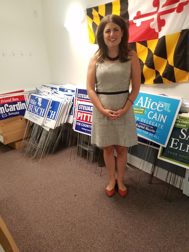 Sarah Elfreth in her campaign office
