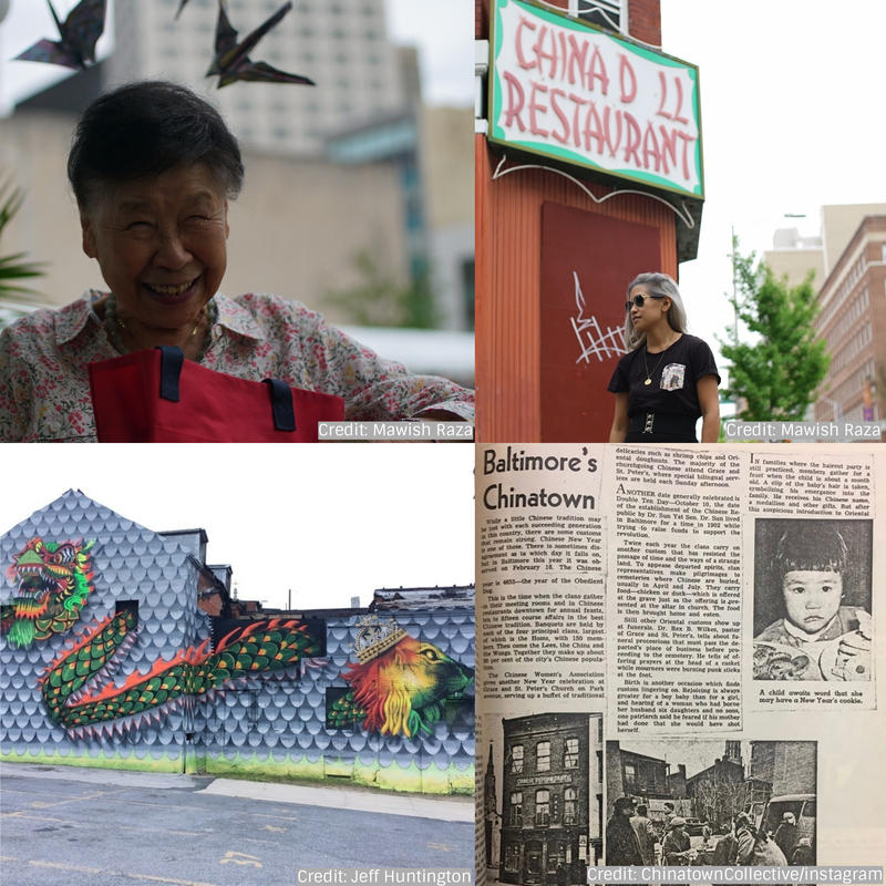 "From top left: Katherine Chin, Stephanie Hsu, A 1958  ""Sunday Sun"" article,  Jeff ""Jahru"" Huntington's 'Chinese Dragon, Lion of Judah' mural in the 400 block of Park Avenue"