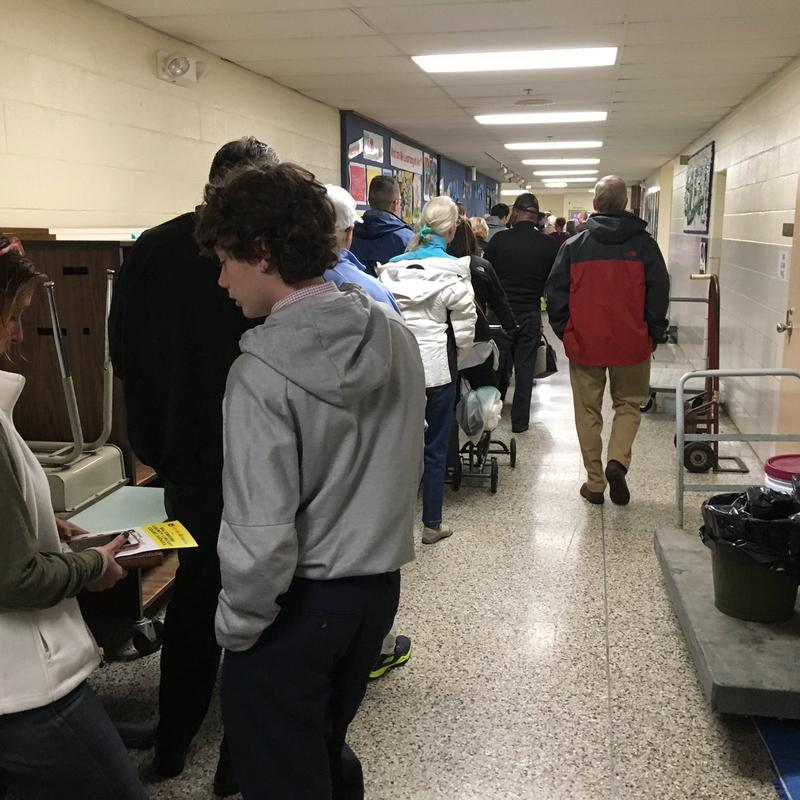 The line to vote at Cromwell Valley Elementary School in Baltimore County