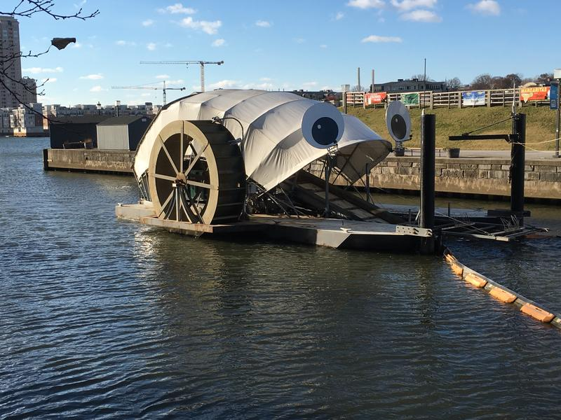 Mr. Trash Wheel, standing guard, at the mouth of the Jones Falls.