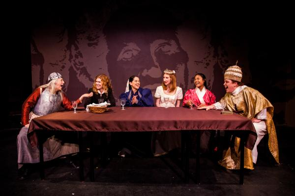 "Left to right: Helenmary Ball, Robin Zerbe, Annette Mooney Wasno, Kara Turner, Cori Dioquino and Amy Miller in ""Top Girls."""