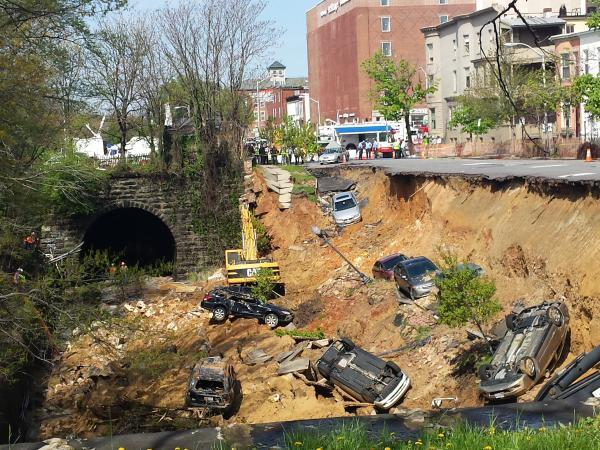 The CSX train line that runs parallel to the unit block of East 26th Street after the street collapse.