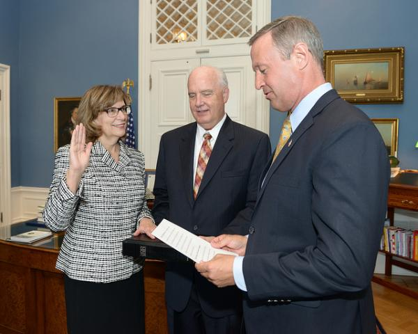 Gov. Martin O'Malley swearing in Mary Ellen Barbera as Chief Judge of the Court of Appeals in July 2013.