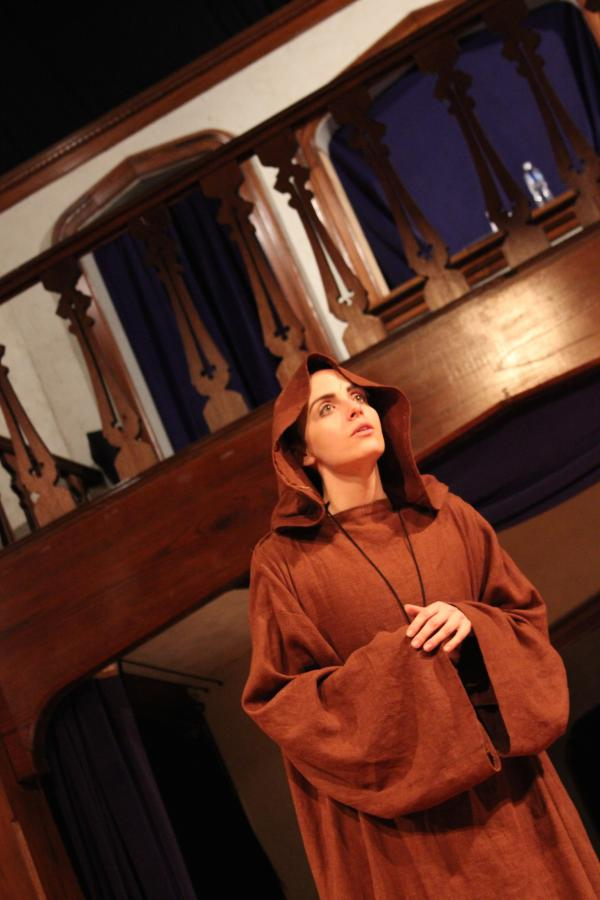 Valerie Dowdle as the Duke, disguised as a friar.
