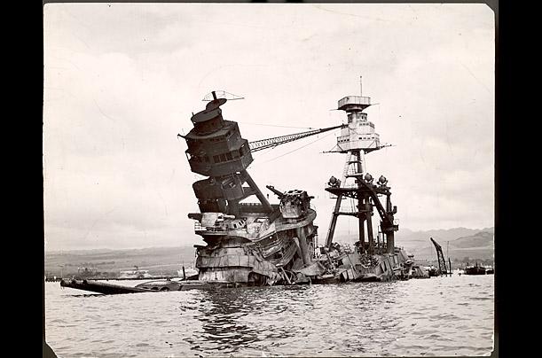 Photo of USS Arizona at Pearl Harbor
