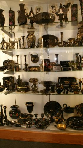 Ebony pieces on display at the Cambridge Glass Museum