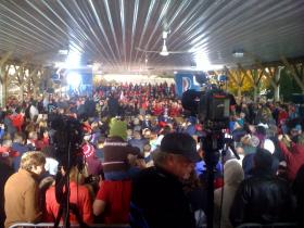 Vice Presidential candidate Paul Ryan speaks before a crowd at Young's Dairy.