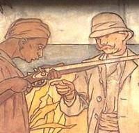 This detail from an early-20th-century image over the entrance to an arms factory in Belgium depicts a European arms manufacturer selling a gun to a darker-skinned purchaser in an exotic setting. International arms merchants have a long history of complicity in Third World violence.