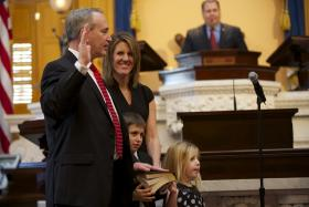 State Senator Keith Faber (R-Celina) was sworn in as President of the Ohio Senate. He was joined in the Senate Chamber by his wife, Andrea and their two children.