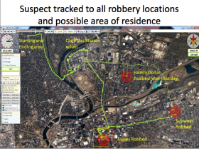 A demonstration of how aerial technology was able to track a burglary suspect to all of these locations, including a Clark gas station prior to the robbery.
