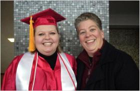 Janet Hurn, a Miami University alumnus and Miami Middletown faculty, and her partner, Tina Gregory. Tina recently received her Bachelor's degree in  Nursing from Miami by using domestic partner benefits.