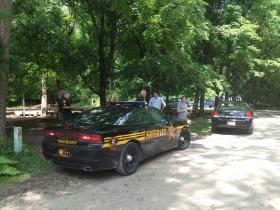 Greene County Police outside Glen Helen Outdoor Education Center