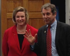 Dayton mayoral candidate Nan Whaley with U.S. Senator Sherrod Brown