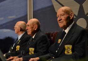 Doolittle Raiders; Lt. Col. Edward Saylor (left), Lt. Col. Richard Cole (center), and Staff Sargent David Thatcher (right), on stage during the final goblet ceremony at WPAFB.