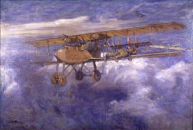 The painting by Henri Ferre depicting a WWI rifleman on the lower wing of an attacking Fokker.